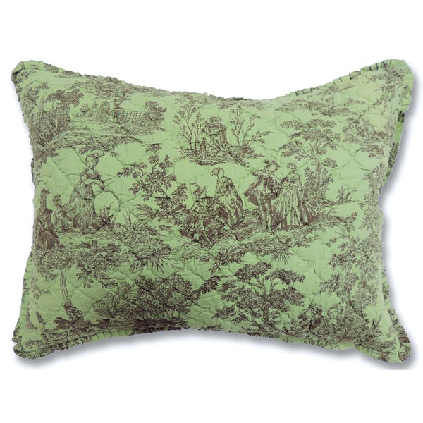 Toile Quilted Green Sham