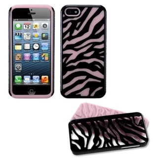 INSTEN Pink Black Zebra Protector Phone Case for Apple iPhone 5/ 5S/ SE