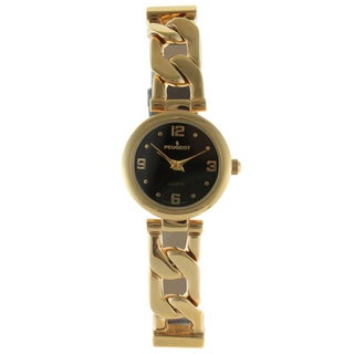 Peugeot Women's Goldtone Half Leather Link Watch