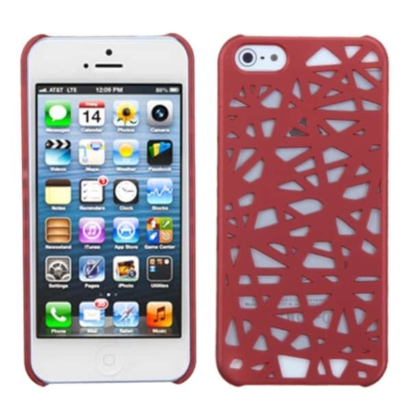 INSTEN Red Bird's Nest Rubberized Protector Phone Case for Apple iPhone 5/ 5S/ 5C/ SE