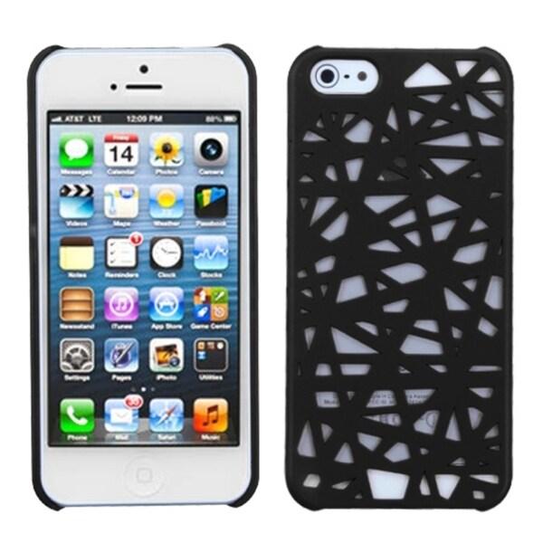 INSTEN Black Bird's Nest Rubberized Protector Phone Case for Apple iPhone 5/ 5S/ SE