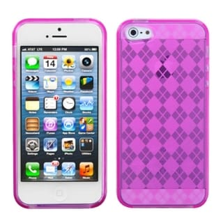 INSTEN Hot Pink Argyle Candy Skin Phone Case for Apple iPhone 5/ 5S/ SE