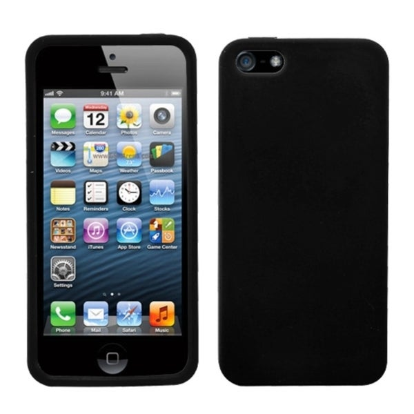 INSTEN Black Solid Skin Phone Case Cover for Apple iPhone 5