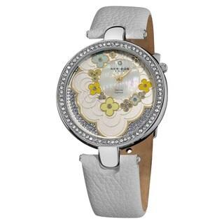 Akribos XXIV Women's Snake-Patterned Leather White Strap Flower Dial Watch - Blue/Silver
