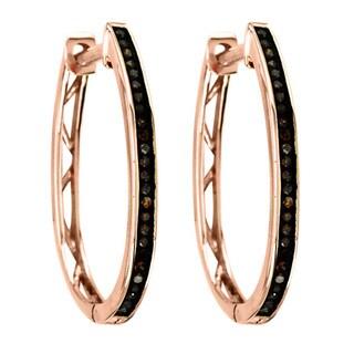 De Couer 10k Rose Gold 1/6ct TDW Cognac Diamond Hoop Earrings (I2)