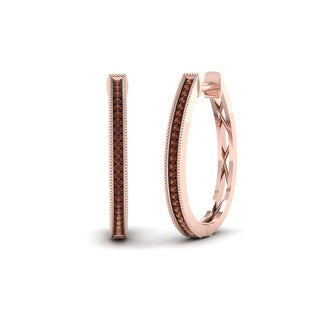 De Couer 10k Rose Gold 1/6ct TDW Cognac Diamond Hoop Earrings
