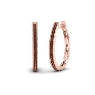 De Couer 10k Rose Gold 1/6ct TDW Cognac Diamond Hoop Earrings