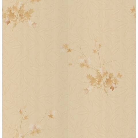 Brewster Beige Leaves Texture Wallpaper