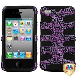 INSTEN Purple Zebra Diamante/ Fishbone Phone Case Cover for Apple iPhone 4/ 4S