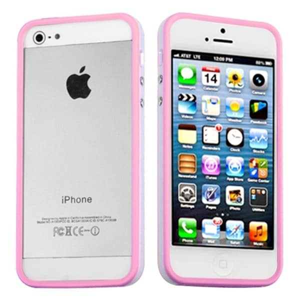 INSTEN Pink/ Solid White MyBumper Phone Case Cover for Apple iPhone 5