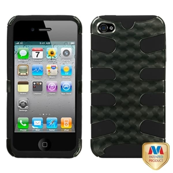 INSTEN Metal Plaid/ Silver/ Black Fishbone Phone Case Cover for Apple iPhone 4S/ 4