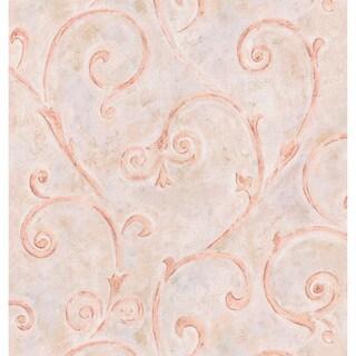 Brewster Pink Scrolls Wallpaper