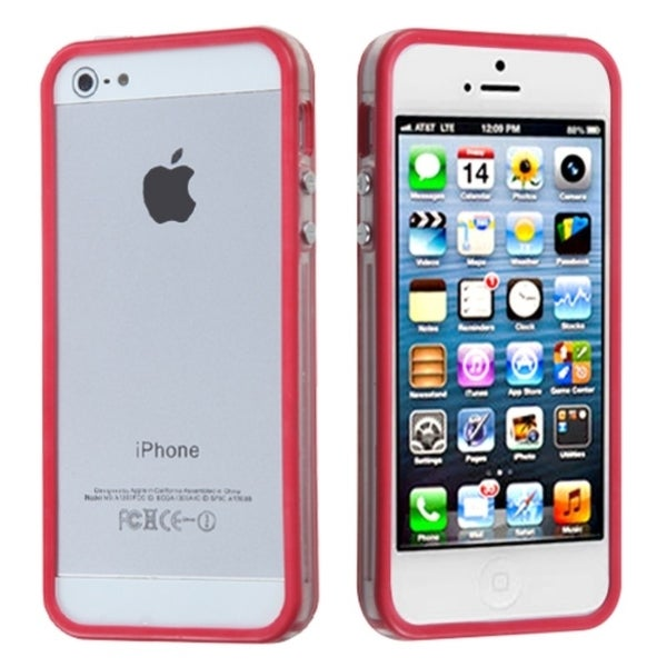 INSTEN Hot Pink/ Transparent Clear MyBumper Phone Case Cover for Apple iPhone 5