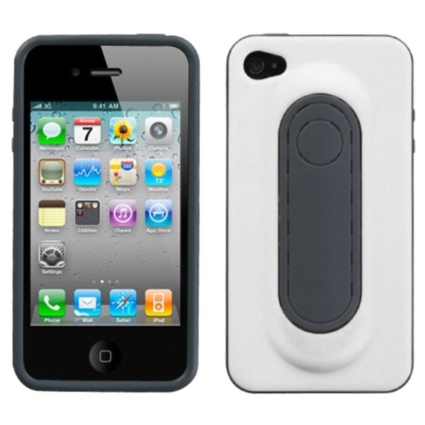 INSTEN White Snap Tail Phone Case Cover with Stand for Apple iPhone 4/ 4S