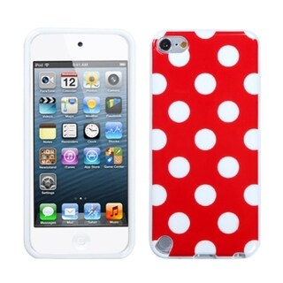 Insten Red/ White Polka Dots TPU Rubber Candy Skin Glossy Case Cover For Apple iPod Touch 5th/ 6th Gen