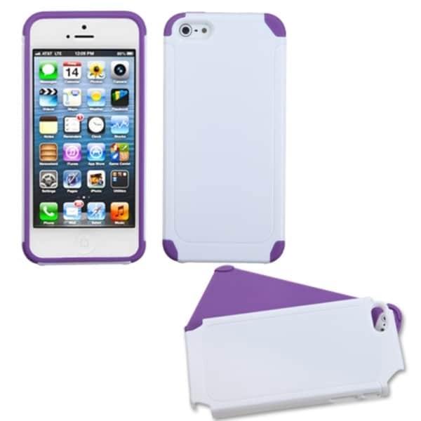 INSTEN White/ Electric Purple Frosted Fusion Phone Case for Apple iPhone 5/ 5S/ SE