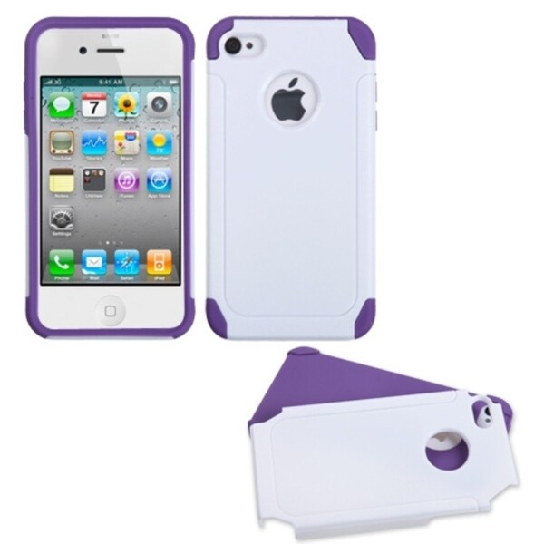INSTEN White/ Purple Frosted Fusion Phone Case Cover for Apple iPhone 4/ 4S