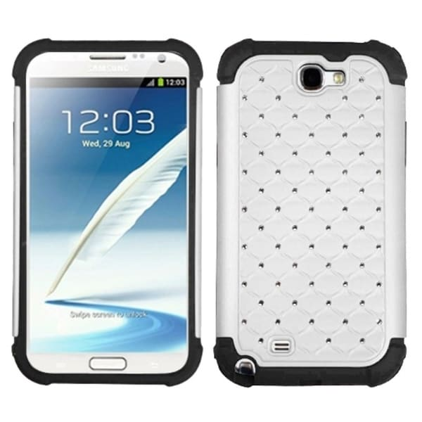 INSTEN White/ Black Luxurious Lattice Phone Case Cover for Samsung Galaxy Note 2