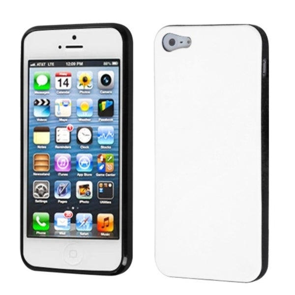 INSTEN White/ Black Candy Skin Phone Case Cover for Apple iPhone 5