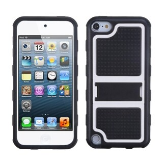 Insten Black/ White Gummy Hard PC/ Silicone Case Cover with Stand For Apple iPod Touch 5th/ 6th Gen
