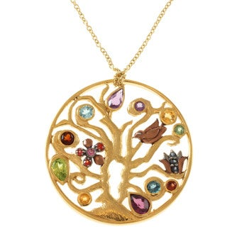 Michael Valitutti Gold over Sterling Silver Multi-gemstone Necklace