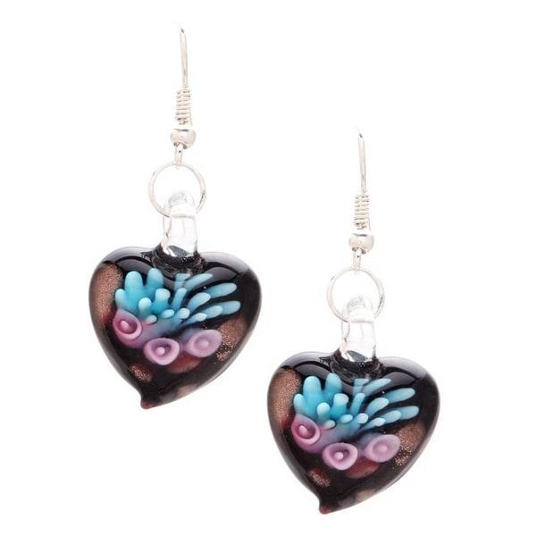 Murano Glass Pink Lily Heart Earrings