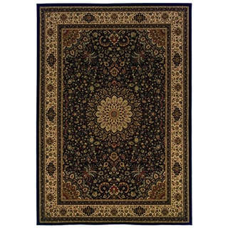Traditional Black/ Ivory Area Rug (7'10 x 10'10)