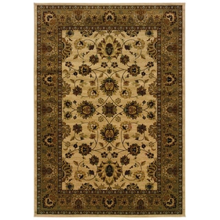 Traditional Ivory/ Brown Area Rug (3'10 x 5'5)