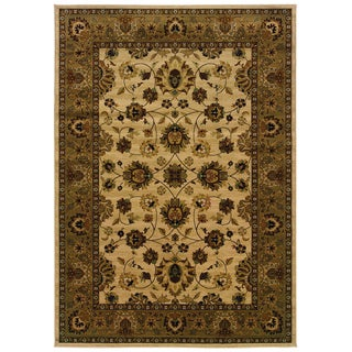 Traditional Ivory/ Brown Area Rug (9'10 x 12'10)