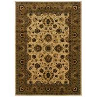 Traditional Ivory/ Brown Area Rug - 9'10 x 12'10