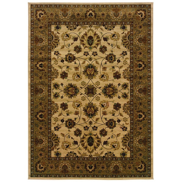 "Traditional Ivory/ Brown Area Rug (9'10 x 12'10) - 9'10"" x 12'10"""