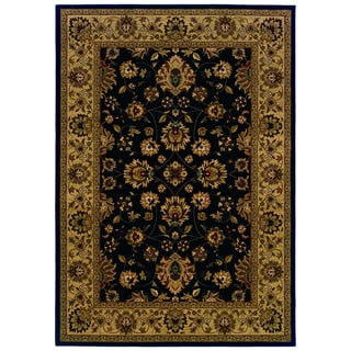 Traditional Brown/ Black Area Rug (7'10 x 10'10)