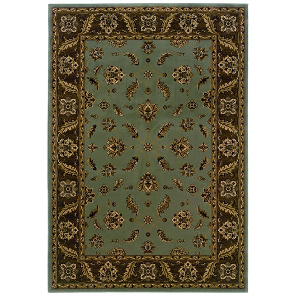 Traditional Blue/ Brown Area Rug (3'10 x 5'5)