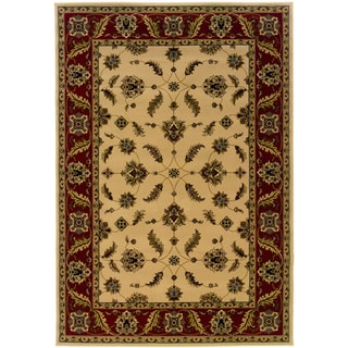 Traditional Ivory/ Red Area Rug (6'7 x 9'6)