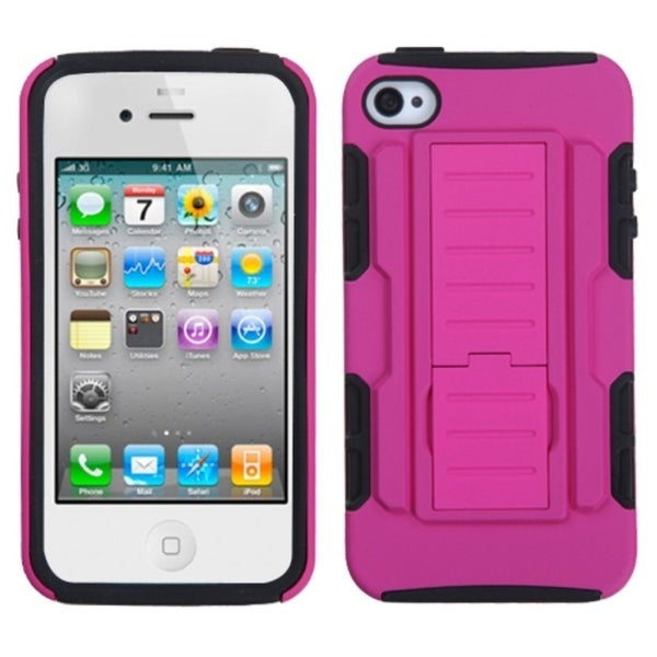 INSTEN Hot Pink/ Black Car Armor Stand Phone Case Cover for Apple iPhone 4/ 4S