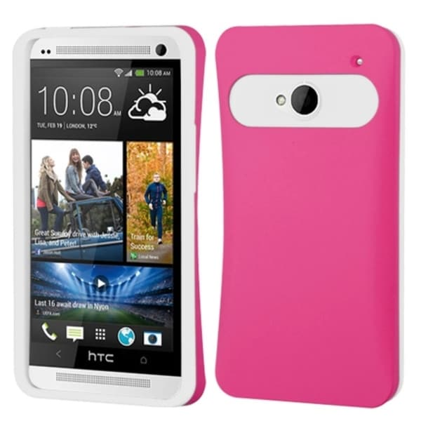 INSTEN Hot Pink/ White Card Wallet Back Phone Case Cover for HTC One M7