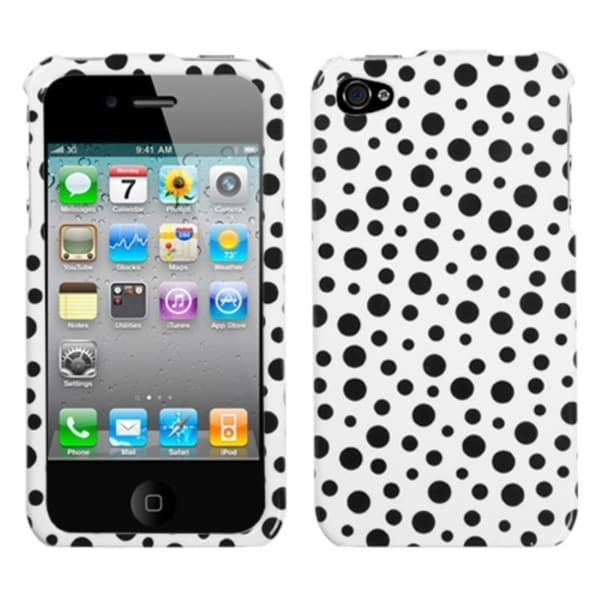 INSTEN Black Mixed Polka Dots Phone Case Cover for Apple iPhone 4/ 4S