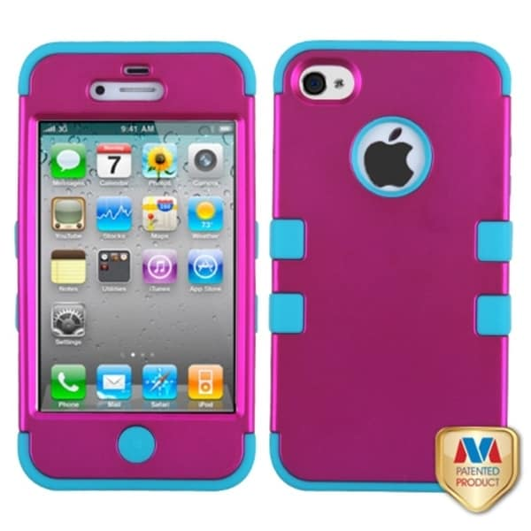 INSTEN Hot Pink/ Tropical Teal TUFF Hybrid Phone Case Cover for Apple iPhone 4/ 4S