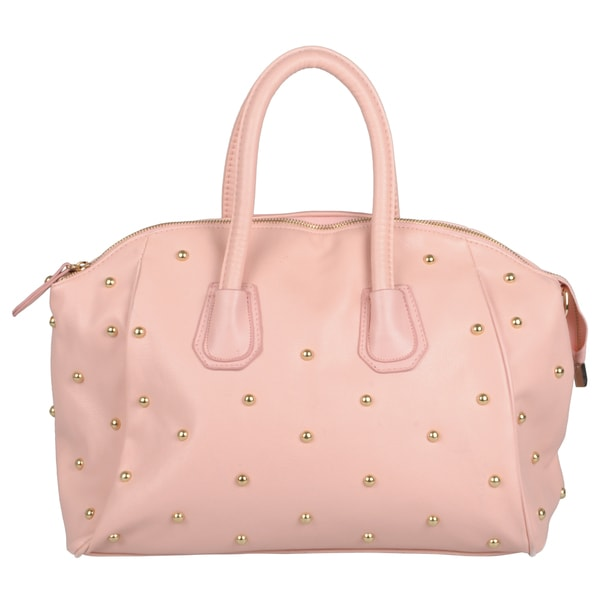 Journee Collection Women's White/ Pink Studded Double Handle Satchel