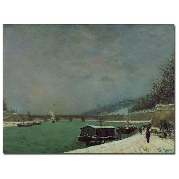 Paul Gauguin 'The Seine at Pont d'lena, Winter' Canvas Art