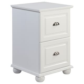 Two Drawer White Storage Cabinet