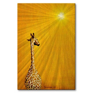 Jerome Stumphauzer 'Giraffe Looking Back' Metal Wall Art