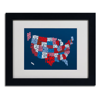 Michael Tompsett 'USA States Txt Map 2' Framed Matted Art