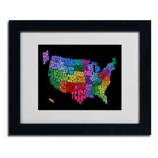 Michael Tompsett 'USA States Txt Map' Framed Matted Art