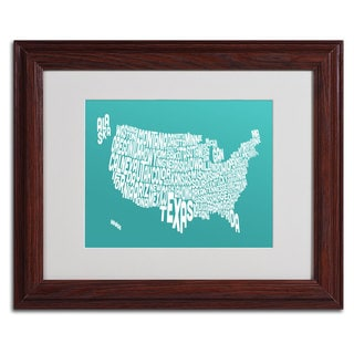 Michael Tompsett 'TURQOISE-USA States Text Map' Framed Matted Art