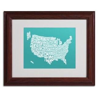 Michael Tompsett 'TURQOISE-USA States Text Map' Framed Matted Art