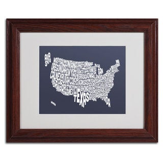 Michael Tompsett 'SLATE-USA States Text Map' Framed Matted Art