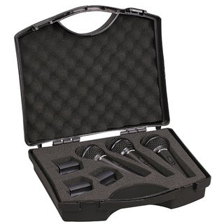Pyle MP3P 3-Pack Microphones with Clips, Dynamic Cardioid Vocal and Black Case