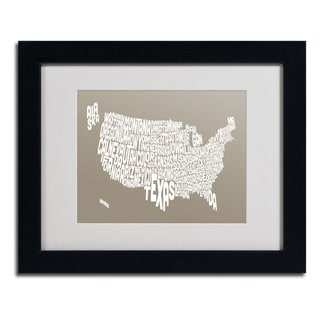 Michael Tompsett 'TAUPE-USA States Text Map' Framed Matted Art