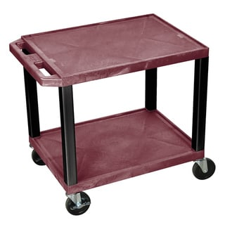 Offex Burgundy Rolling 26-inch high Tuffy AV Cart with 2 Storage Shelves, Black Legs, 4-inch Heavy D